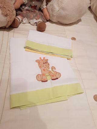 sábana y funda almohada para minicuna