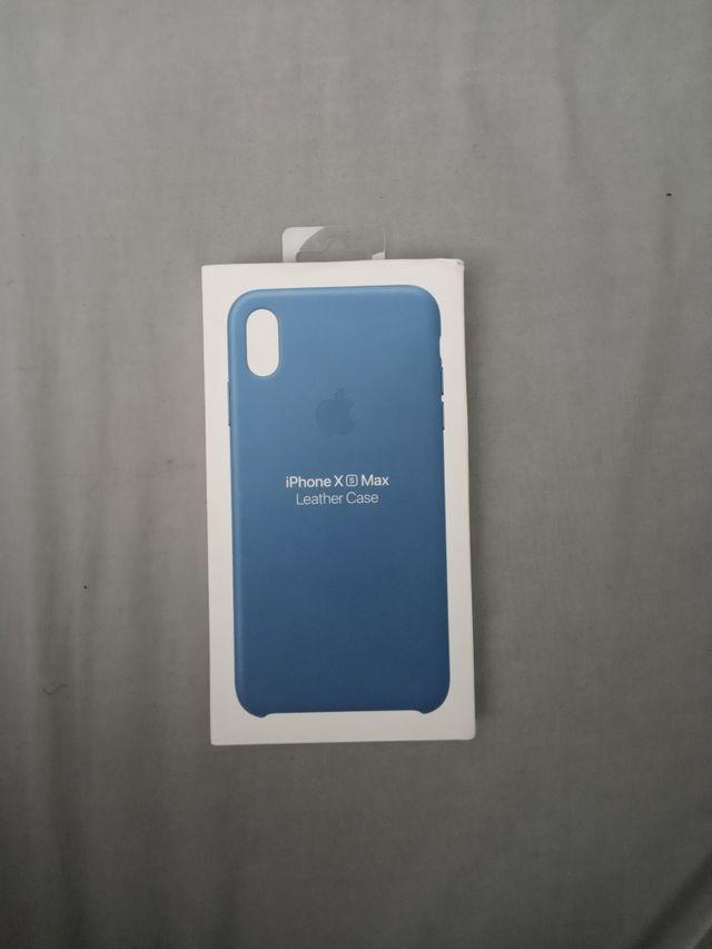 Funda iPhone XS Max Azul cuero original