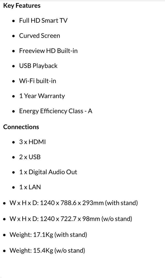 "55"" Samsung curve smart tv"