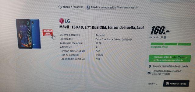 Móvil Nuevo Libre LG-K40 Blue