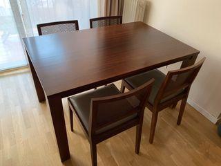 Mesa comedor extensible madera nogal