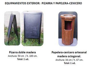 EQUIPAMIENTO EXTERIOR: PAPELERA Y PIZARRA