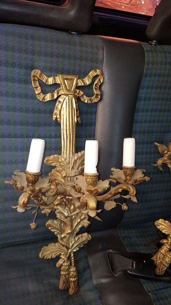 2 lámparas bronce