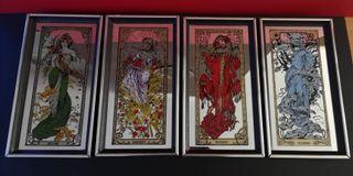 4 Antiguos espejos serigrafiados las 4 Estaciones