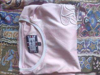 Camiseta siksilk rosa con rayas