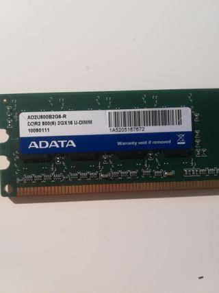 Memoria RAM Adata 2GB 800MHz DDR2 CL16 UDIMM