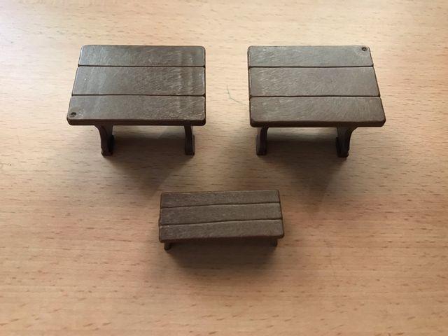 Playmobil lote mesas y banco castillo medieval