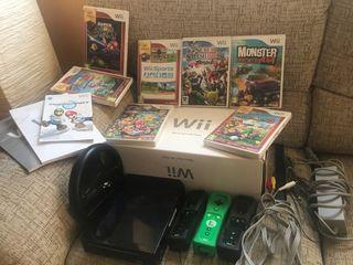 Consola Wii Mario Karts + 6 juegos