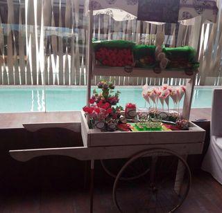 Carrito candy bar y mueble arroz