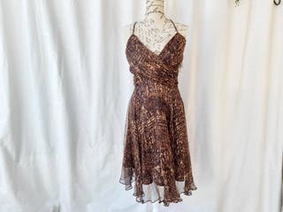 Zara vestido de seda animal print Talla XL