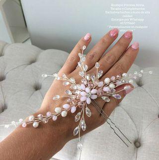 Tocado novia invitada madrina peina rosa clarita