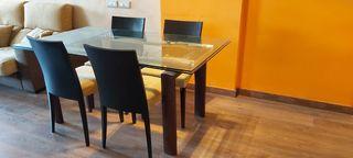 Mesa comedor de cristal abatible y 4 sillas