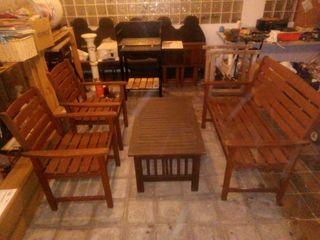 conjunto de jardín, banco mes i dos sillones.