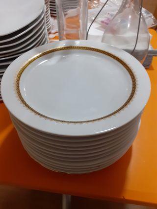 22 platos llanos con cenefa de oro