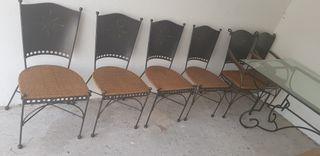 Mesa comedor cristal y forja con 6 sillas
