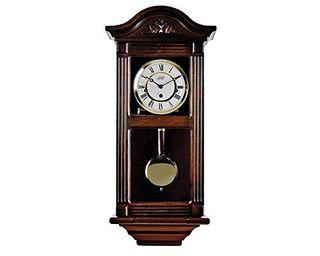 Reloj péndulo de pared clásico, madera de nogal