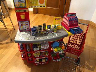 Supermercado, carrito, caja registradora y cesta