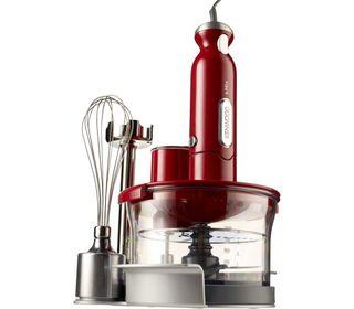 Batidora Kenwood roja con accesorios