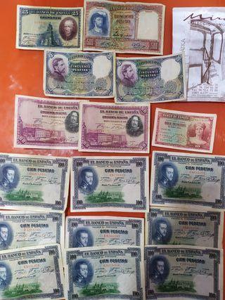 Billetes de España antiguos.