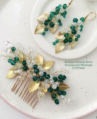 Tocado + Pendientes en color verde esmeralda / oro