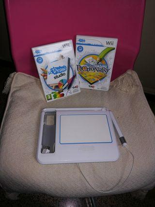 u draw game tablet + dos juegos WII