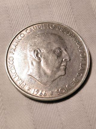 moneda de 100 ptas de 1966 *66 plata
