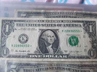 Billete 1 dolar americano con estrella