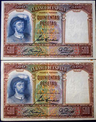 Billetes de España, 2 x 500 pesetas.