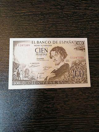 Billete de España de 100 pesetas del año 1965