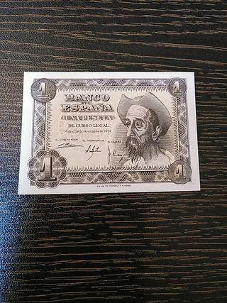 Billete de España de 1 peseta del año 1951