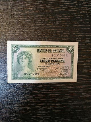 Billete de 5 pesetas de España. 1935.