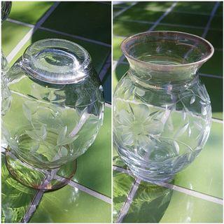 Jarra antigua cristal tallado