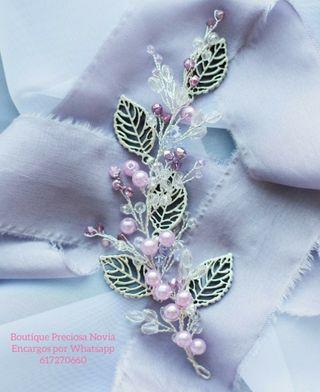Preciosa delicada Tiara novia Invitada rosa plata