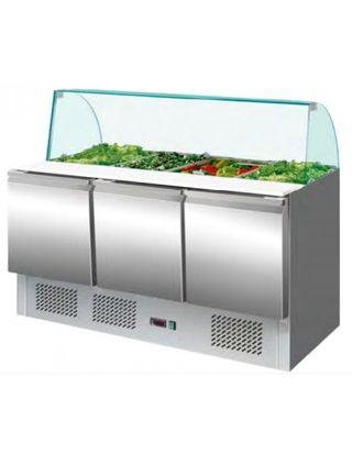 Mesa refrigerada de preparación con cristal curvo