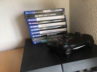 Consola PS4 + mando + algunos juegos