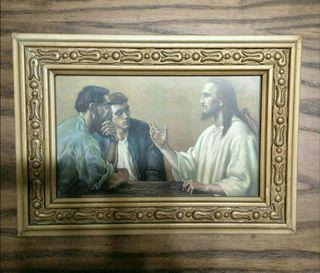 Antiguo cuadro de madera 19x14cm