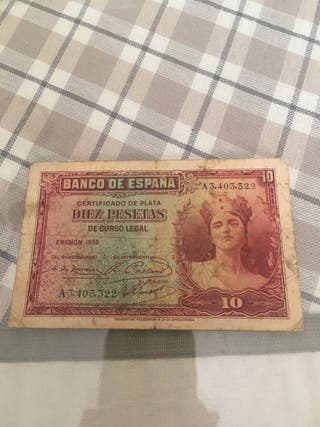 Billete Répública de 10 pesetas de 1935