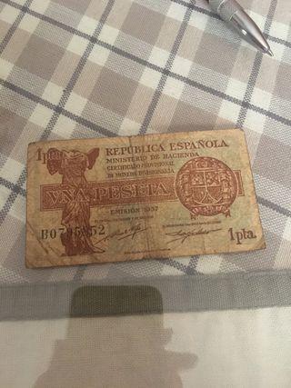 Billete Republica 1 peseta 1937