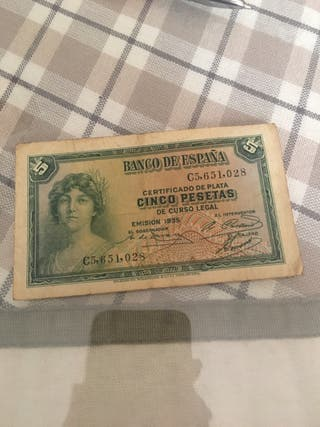 Billete Republica 5 pesetas 1935