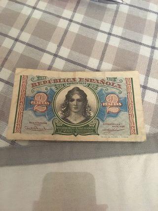 Billete Republica 2 pesetas 1938