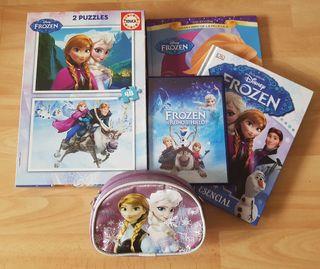 pack dos libros +puzzle+pelicula+neceser Frozen