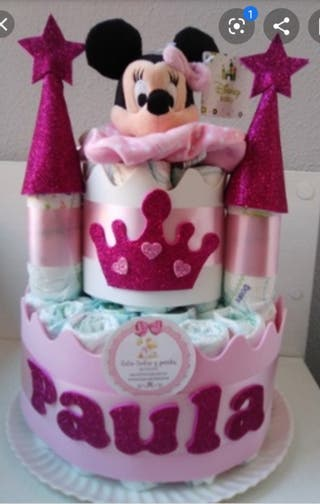 castillo de pañales Minnie mouse