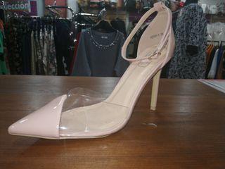 Zapato tacón nudo transparente