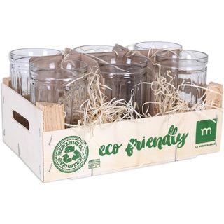 Set de 6 vasos y caja de madera