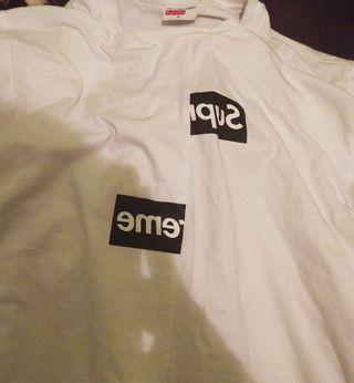 camiseta box logo supreme x cdg
