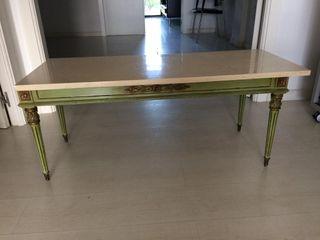 Mesa verde oliva de madera de Sapelly