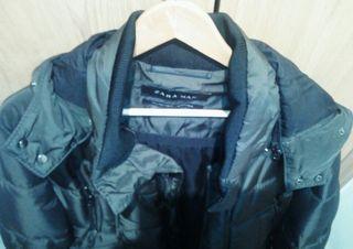 Abrigo plumas Zara Man talla L verde militar de segunda mano
