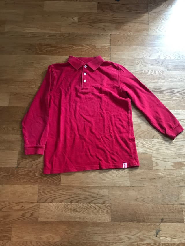 Polo rojo manga larga talla 10