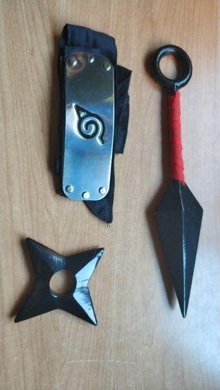Shuriken y Kunai + bandana Naruto