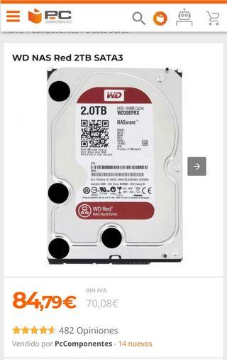 2 Discos duro Western digital red NAS 2 teras